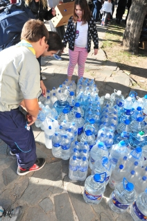 Just a small part of the water donated for the La Plata flood victims