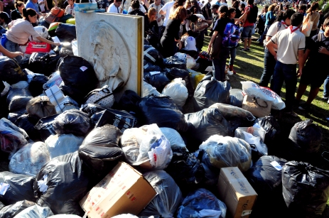 Mountains of clothes and other needed items were collected
