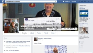 "This is a screen capture of the Facebook page that I was sent to for information about the ""grant""."