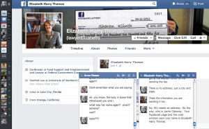 The same Facebook page, except this screen shot shows the two message windows open at the bottom.